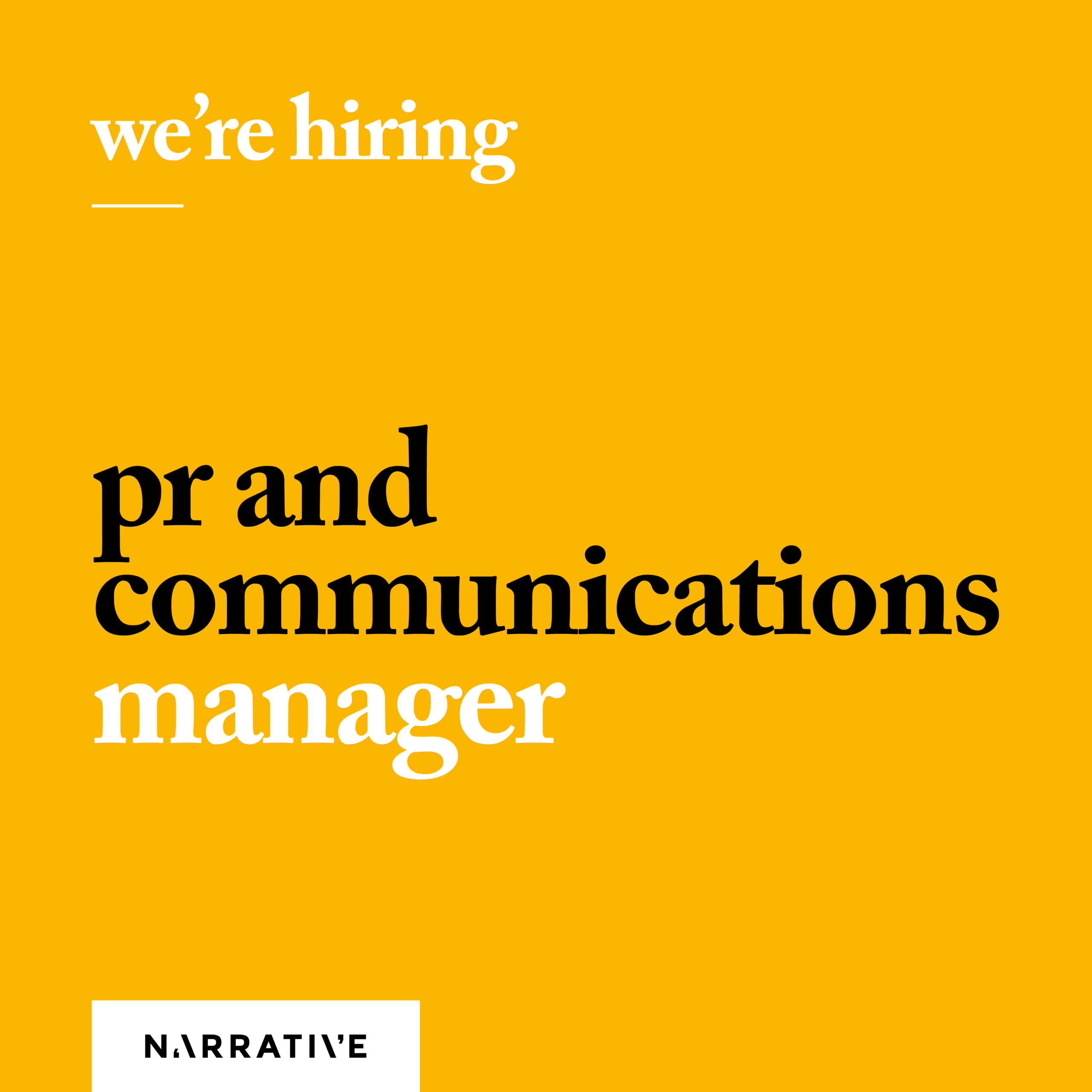PR and Comms Manager