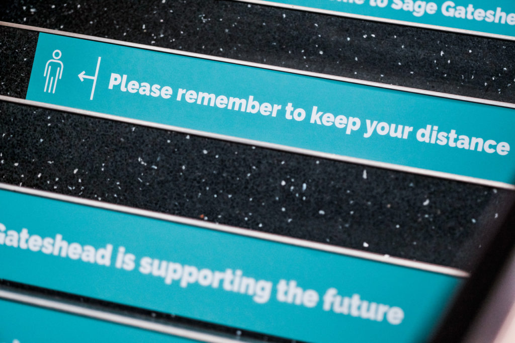 Covid-19 and social distancing signage created for Sage Gateshead by Narrative for reopening